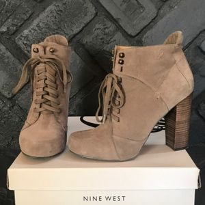 MINE WEST TAUPE SUEDE LACE UP PLATFORM BOOTIES